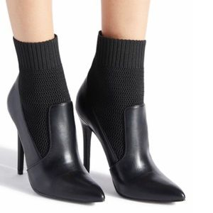Black Leather & Knit Sock Boots